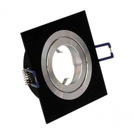 Downlight empotrable cuadrado 1 Foco Aluminio/negro