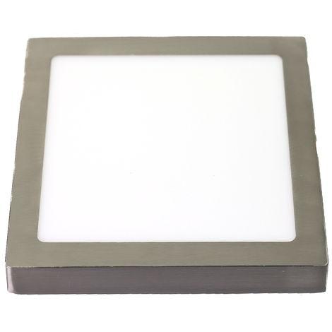 Downlight LED 18W 4200K cuadrado superficie acabado acero
