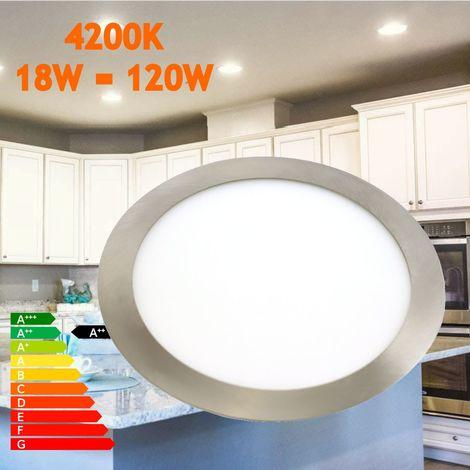 Downlight led 18W 4200ºK redondo empotrar acabado acero