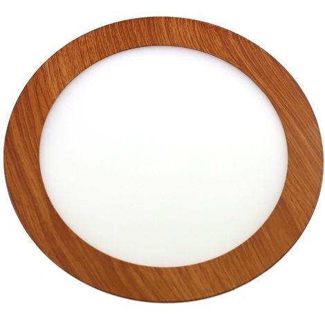 Downlight led 18W 6000ºK redondo empotrar acabado madera