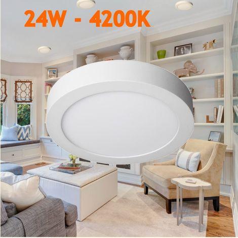 Downlight led 24W 4200ºK redondo superficie blanco
