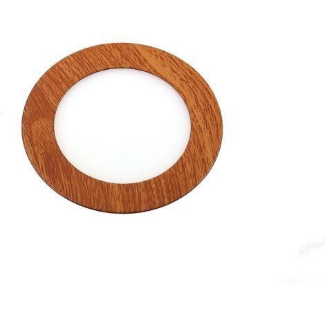 Downlight led 6W 6000ºK redondo empotrar acabado madera