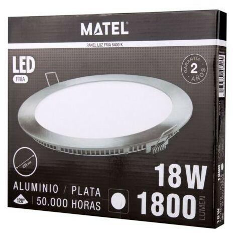 Downlight Led Aluminio Redondo Plata 18W 1800Lm Matel