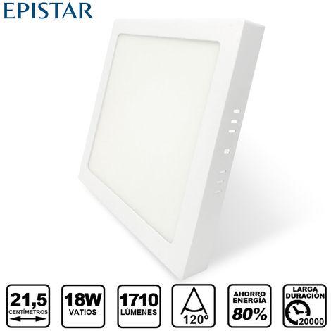 Downlight LED Cuadrado de Superficie Blanco 18W con 1710 Lm. 4500K Blanco Neutro