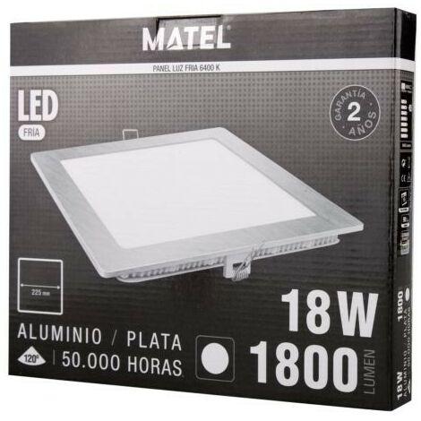 DOWNLIGHT LED CUADRADO PLATA 18W.FRIA Matel