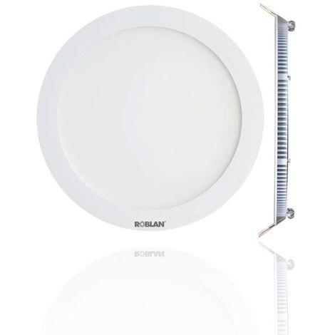 Downlight led EXTRAFINO empotrable Roblan blanco de 12W . Luz cálida DPANEL12C