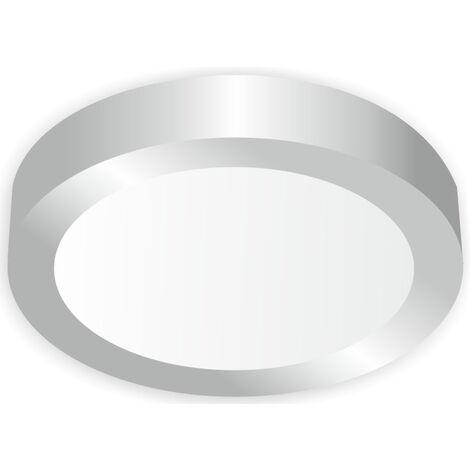 Downlight Led redondo de superficie níquel 18W 3000°K 225x35mm. (Ledesma 10874)