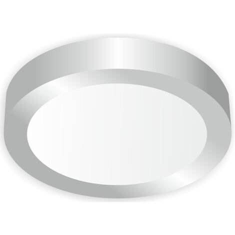 Downlight Led redondo de superficie níquel 18W 6000°K 225x35mm. (Ledesma 10875)