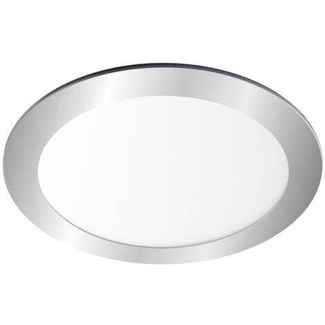 Downlight Led redondo empotrable plata 18W 3000°K 225x19mm. (Ledesma 10794)
