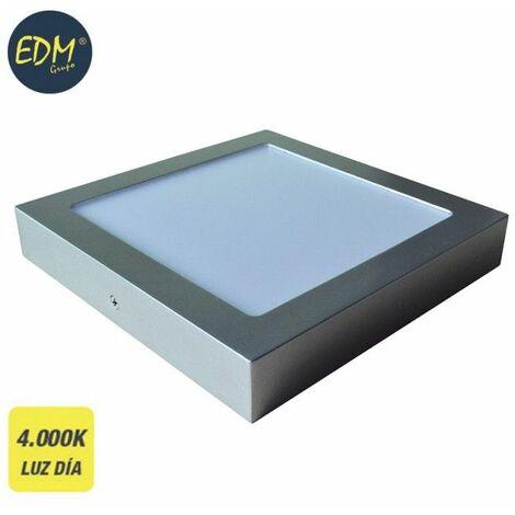 Downlight LED superficie cuadrado 20W 4000K 1500lm cromo mate EDM 31593