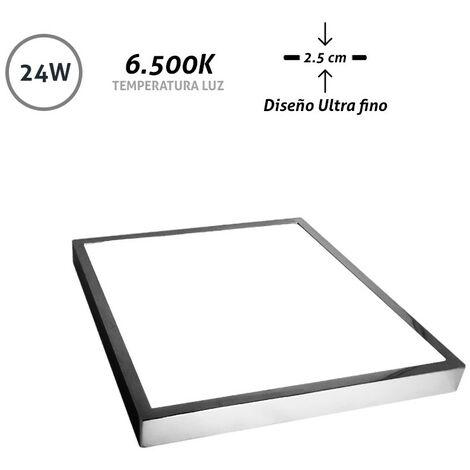 Downlight LED superficie cuadrado cromo Ultra Fino 24W