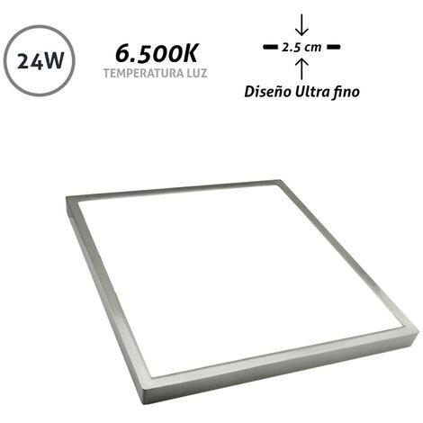 Downlight LED superficie cuadrado níquel Ultra Fino 24W