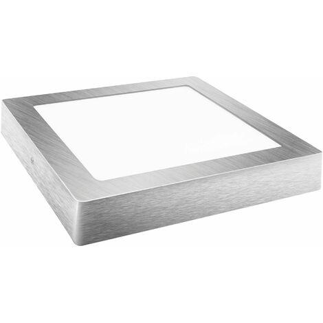 Downlight led superficie cuadrado plata 6w neutra
