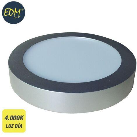 Downlight LED superficie redondo 20W 4000K 1500lm cromo mate EDM 31592