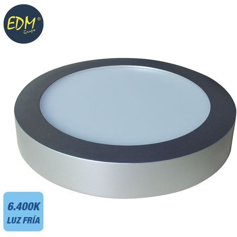 Downlight LED superficie redondo 20W 6400K 1500lm cromo mate EDM 31596