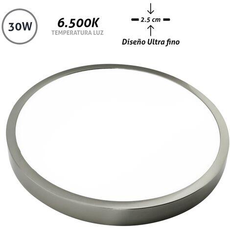 Downlight LED superficie redondo níquel Ultra Fino 30W