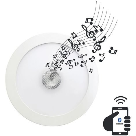 Downlight LED Ultraslim Empotrable Redondo con Altavoz Bluetooth 22W 1300lm Ø21cm 4000K Blanco 7hSevenOn