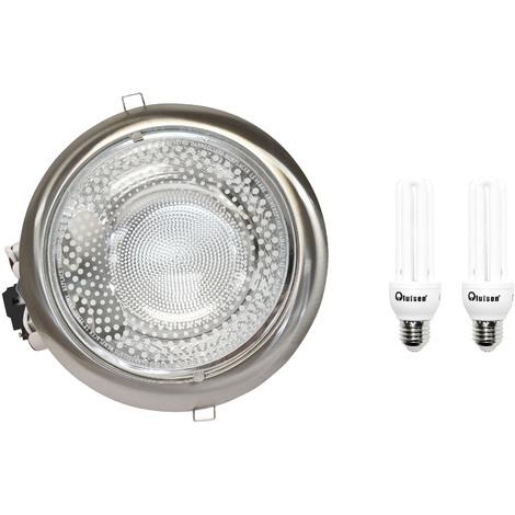 Downlight Niquel 23 cm diametro + 2 bombillas bajo consumo 20W