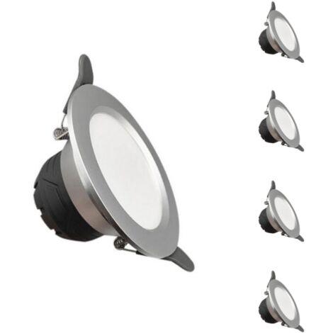 Downlight Spot LED Encastrable 6W Rond ARGENT lumière variable (Pack de 5)