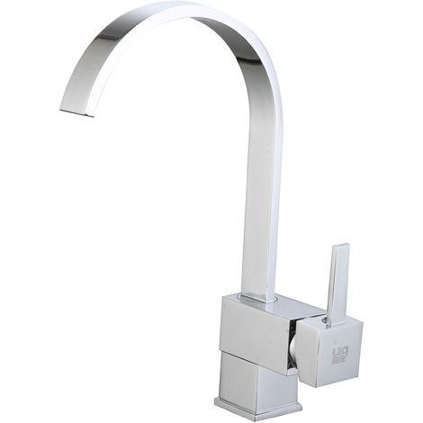 DP Griferia - Grifo monomando con caño alto giratorio acabado en cromo para fregadero modelo Pomelo