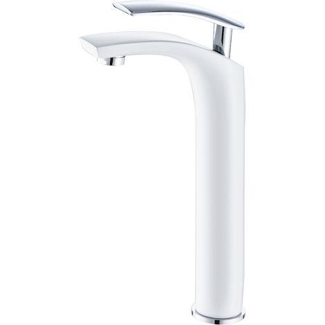 DP Griferia - Grifo monomando de lavabo alto modelo Abeto en color blanco y maneta en color plata