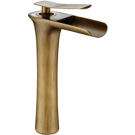 DP Griferia - Grifo monomando de lavabo alto modelo Amaranto con salida de agua efecto cascada en color bronce
