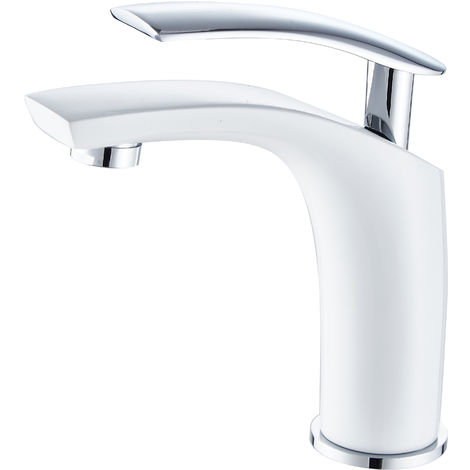 DP Griferia - Grifo monomando de lavabo modelo Abeto en color blanco y maneta en color plata