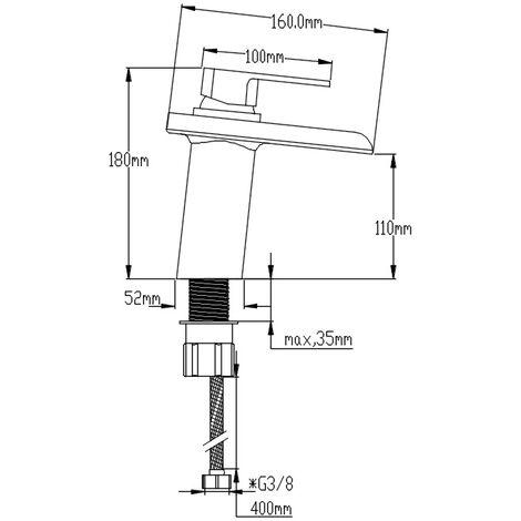 DP Griferia - Grifo monomando de lavabo modelo Aries con salida de agua efecto cascada