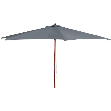 (DPD) Holz Sonnenschirm 300cm mit Holzstamm - Farbe: Anthrazit