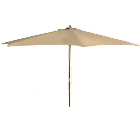 (DPD) Holz Sonnenschirm 300cm mit Holzstamm - Farbe: Natur