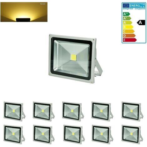 DPE 10-pack Germany inondation 30W LED remplacé 300W Projecteur 2800K 1518 lumens chaud radiateur radiateur blanc IP65 paroi extérieure Baustrahler