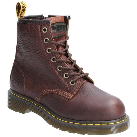 Dr Martens Womens/Ladies Maple Zip Lace Up Leather Safety Boot
