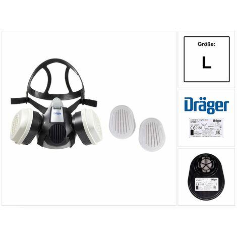 Dräger X-plore 3300 L Atemschutz Maske Halbmaske für Bajonettfilter Größe L + X-plore Kombinationsfilter Bajonett ( 6738817 ) A1B1E1K1 Hg P3 R D