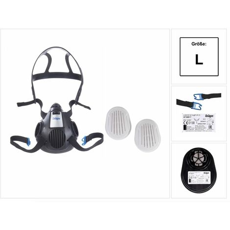 Dräger X-plore 3500 L Atemschutz Maske Halbmaske für Bajonettfilter Größe L + X-plore Kombinationsfilter Bajonett ( 6738817 ) A1B1E1K1 Hg P3 R D