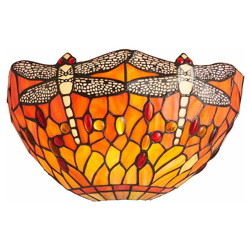 Image of 12-interiors 1900 - Dragonfly Flame wall lamp, glass and metal