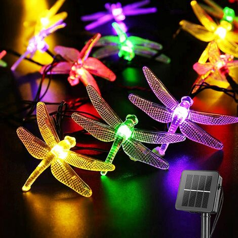 """main image of """"Dragonfly Solar String Lights Outdoor 20.8 Feet 30 Led Waterproof Solar Powered Fairy Lights, 8 Modes Decorative Lights for Patio Garden Yard Fence Wedding Christmas Party, Multicolor"""""""
