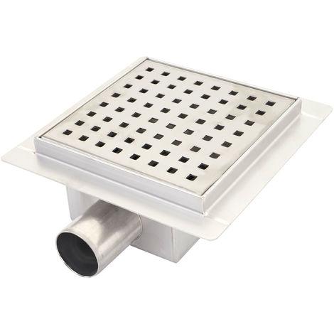 Drain de douche HHG-804c, Écoulement de sol, siphon, salle de bain, acier affiné ~ 20x20cm