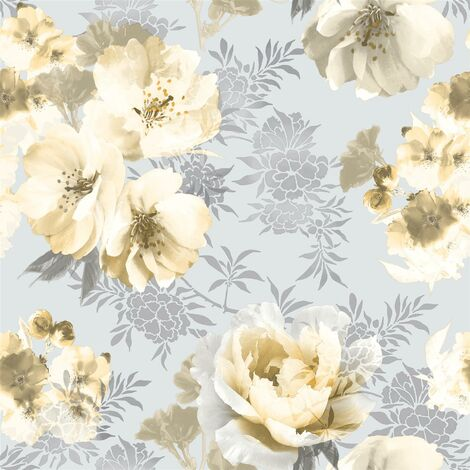 Dramatic Floral Wallpaper Catherine Lansfield Yellow Grey Flower