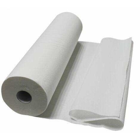 Drap d'examen blanc 60cm x 50m - 34g/m2 double épaisseur aspect gaufré 100% pure ouate - Vivezen