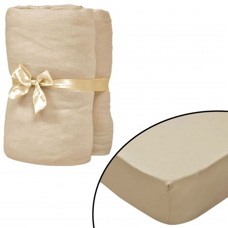 Drap-housse 2 pcs 190 x 200 cm Jersey de coton Beige