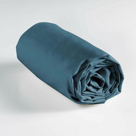 Drap housse 2 personnes 160 x 200 cm uni 57 fils lina Bleu nuit