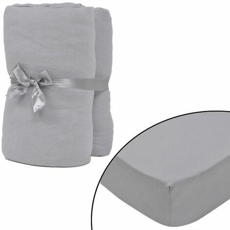 Drap-housse 2 pièces en coton 160 gsm 120x200-130x200 cm Gris