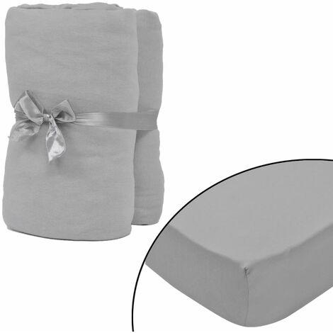 Drap-housse 2 pièces en coton 160 gsm 140x200-160x200 cm Gris