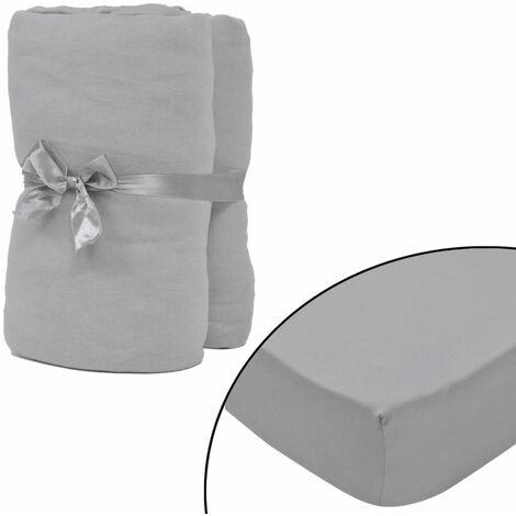 Drap-housse 2 pièces en coton 160 gsm 180x200-200x220 cm Gris