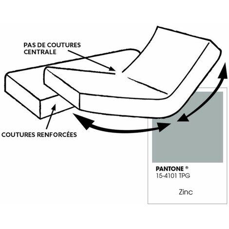 """main image of """"Drap housse pour lit articulé - 100% coton - Bonnet 30 cm - 2x80 x 200 cm - Gris clair"""""""