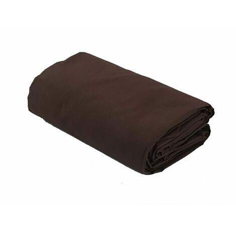 "main image of ""Drap housse uni 100% coton 57fils - Chocolat, 140x190cm"""