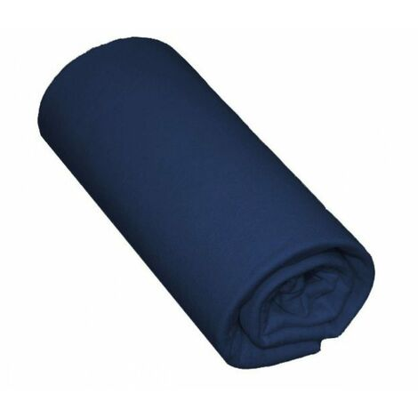 "main image of ""Drap housse uni 100% coton 57fils - Marine, 140x190cm"""