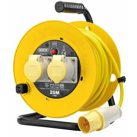 Draper 02124 110V Twin Extension Cable Reel (25M)