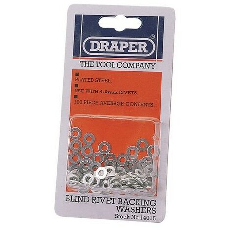 Draper 14015 100 x 4mm Rivet Backing Washers