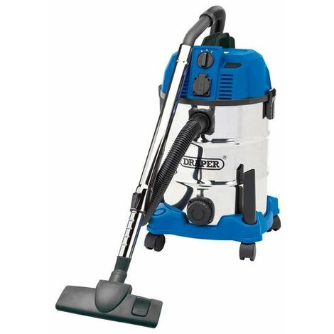 Draper 20529 30L Wet and Dry Vacuum Cleaner with Stainless Steel Tank and Integrated 230V Power Socket (1600W)